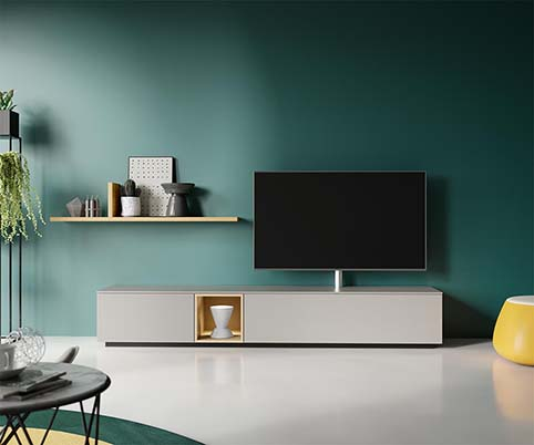 Meuble salon tv design gris 1