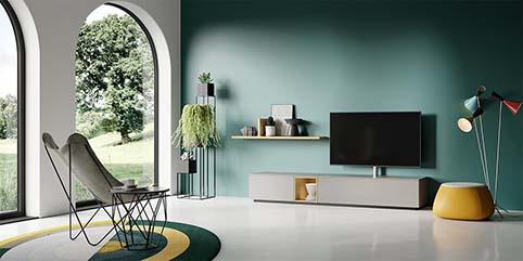 Meuble salon tv design gris