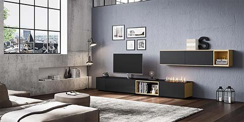 Meuble salon tv design noir
