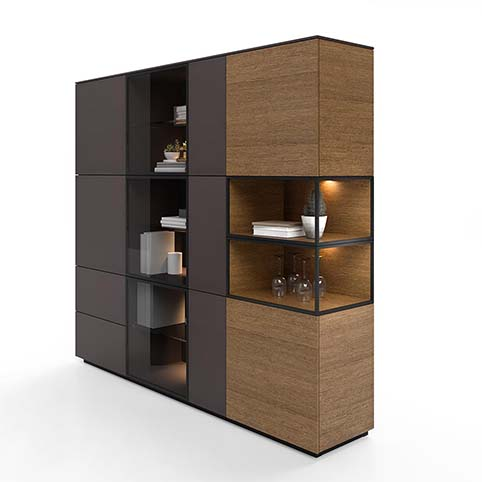 Meuble salon vitrine design bois