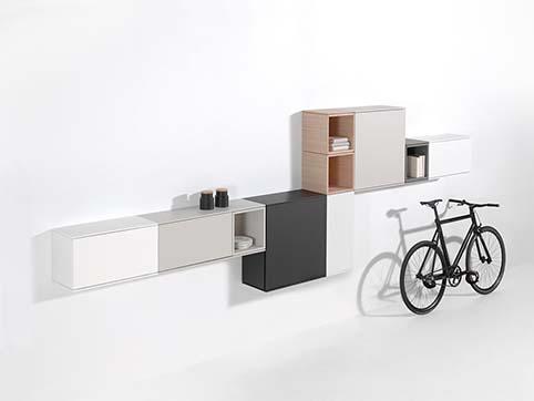 Meubles salon rangement mureaux design gris blanc