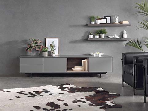 Meubls salon bas design gris face