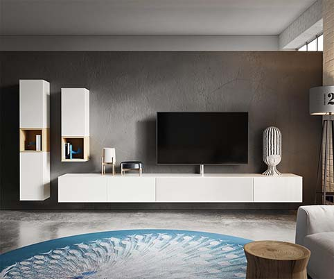 meuble tv salon design blanc bois