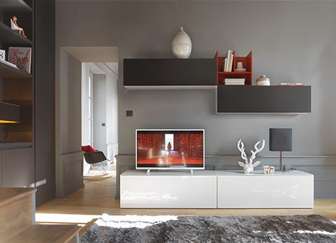 Meuble Complement Tv Blanc bas Haut Contemporain-Full