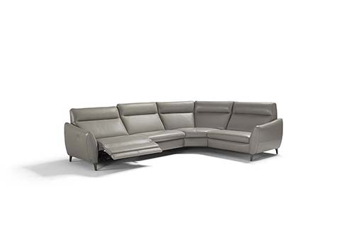 Canape angle design cuir gris souris relax