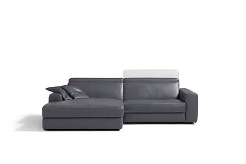 Canape angle design cuir gris taupe relax