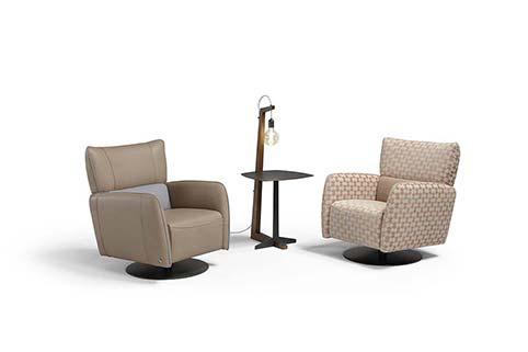 fauteuil tissu cuir moderne beige clair