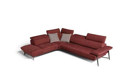 canape angle moderne tissu rouge