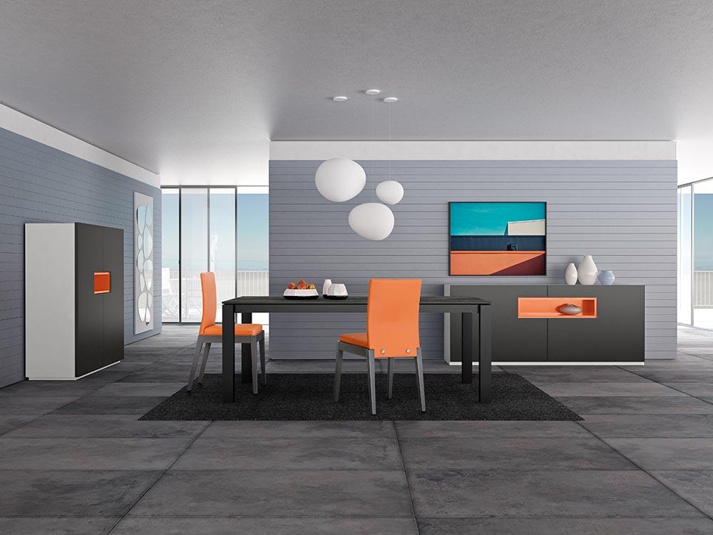 design salle a manger orange zoom