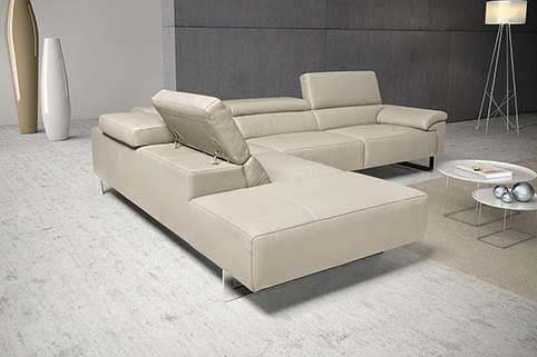 Canape Angle Cuir Moderne Creme 3