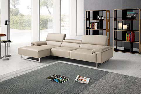 Canape Angle Cuir Moderne Creme