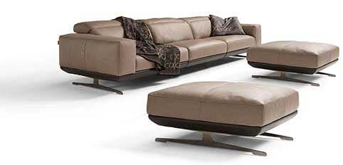Canape Bufle Cuir Beige