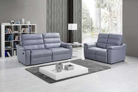 Canape Droit Cuir Classique Relax Bleu