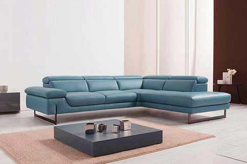 Canape cuir Angle vachette pleine fleur Moderne Bleu