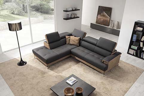Canape Droit Design Fibre Noir Beige 3
