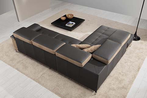 Canape Droit Design Fibre Noir Beige 5