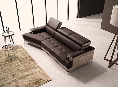 Canape Droit Design Fibre Noir Beige