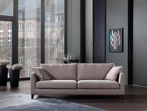 Salon Droit Design Tissu Gris Souris